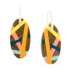 Laura Jaklitsch Jewelry Wood x Polyurethane Yellow Orange Pink Blue Walnut Earrings Handmade One of a Kind Beach Style