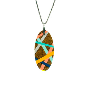 Walnut Wood Pendant Necklace with Inlay
