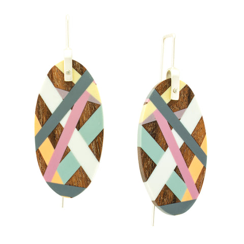 Laura Jaklitsch Jewelry Wood x Polyurethane Pink Grey Yellow Orange Light Blue Handmade One of a Kind Geometric Earrings