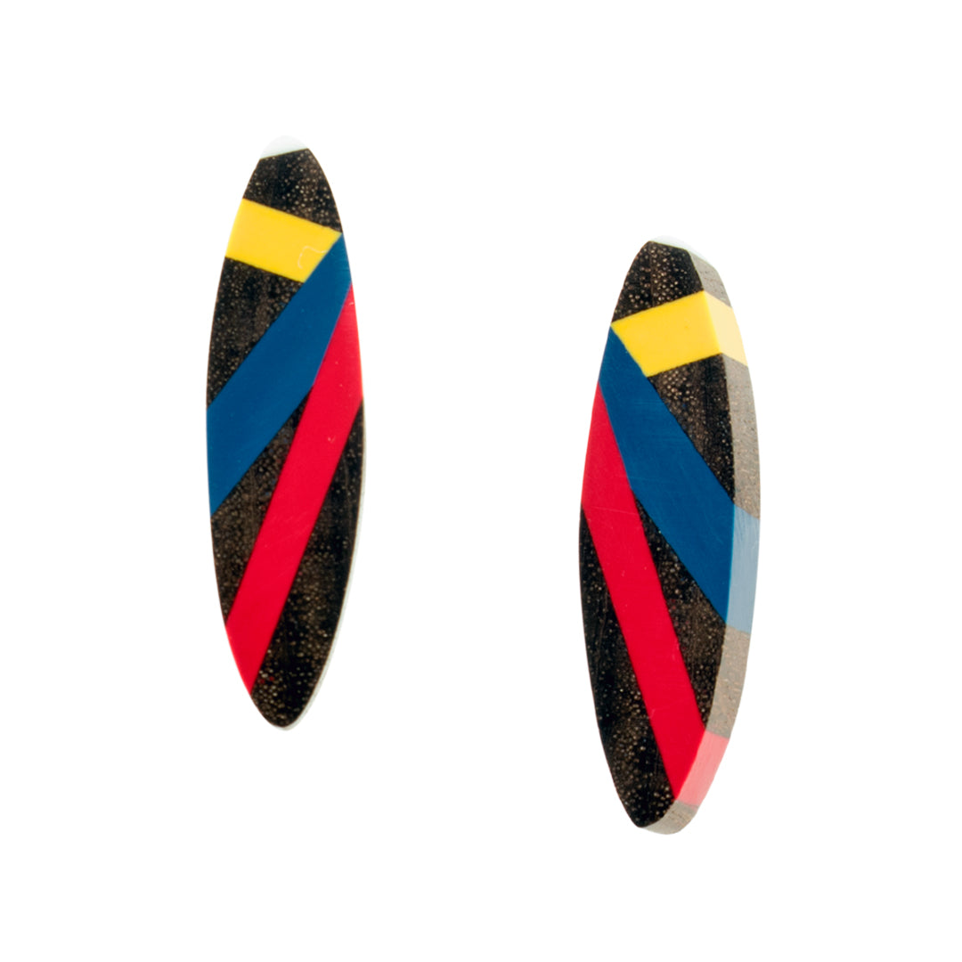 Laura Jaklitsch Jewelry Wood and Polyurethane Resin Inlay Earrings in Primary Colors Red Yellow Blue
