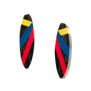 Wood and Polyurethane Resin Inlay Earrings in Primary Colors