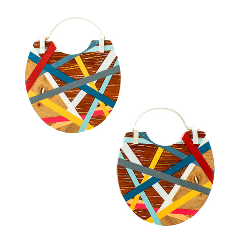 Laura Jaklitsch Jewelry Wood x Polyurethane Resin Statement Hoop Earrings Red Blue Yellow  Beach Summer Style Handmade