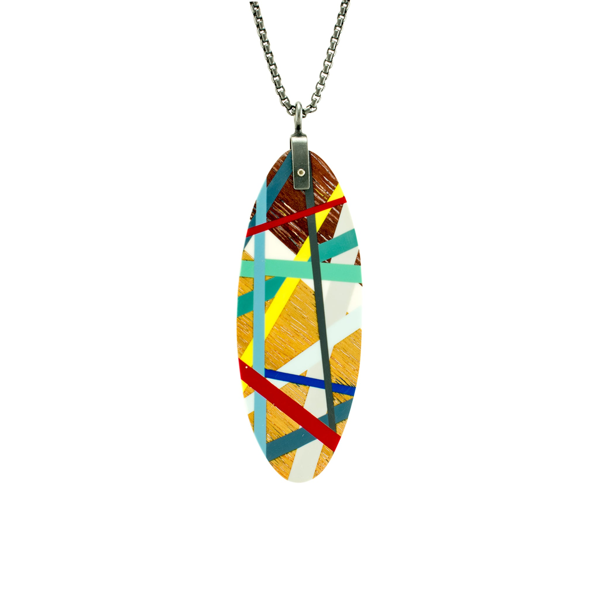 Oval Wood Pendant with Primary Color Inlay