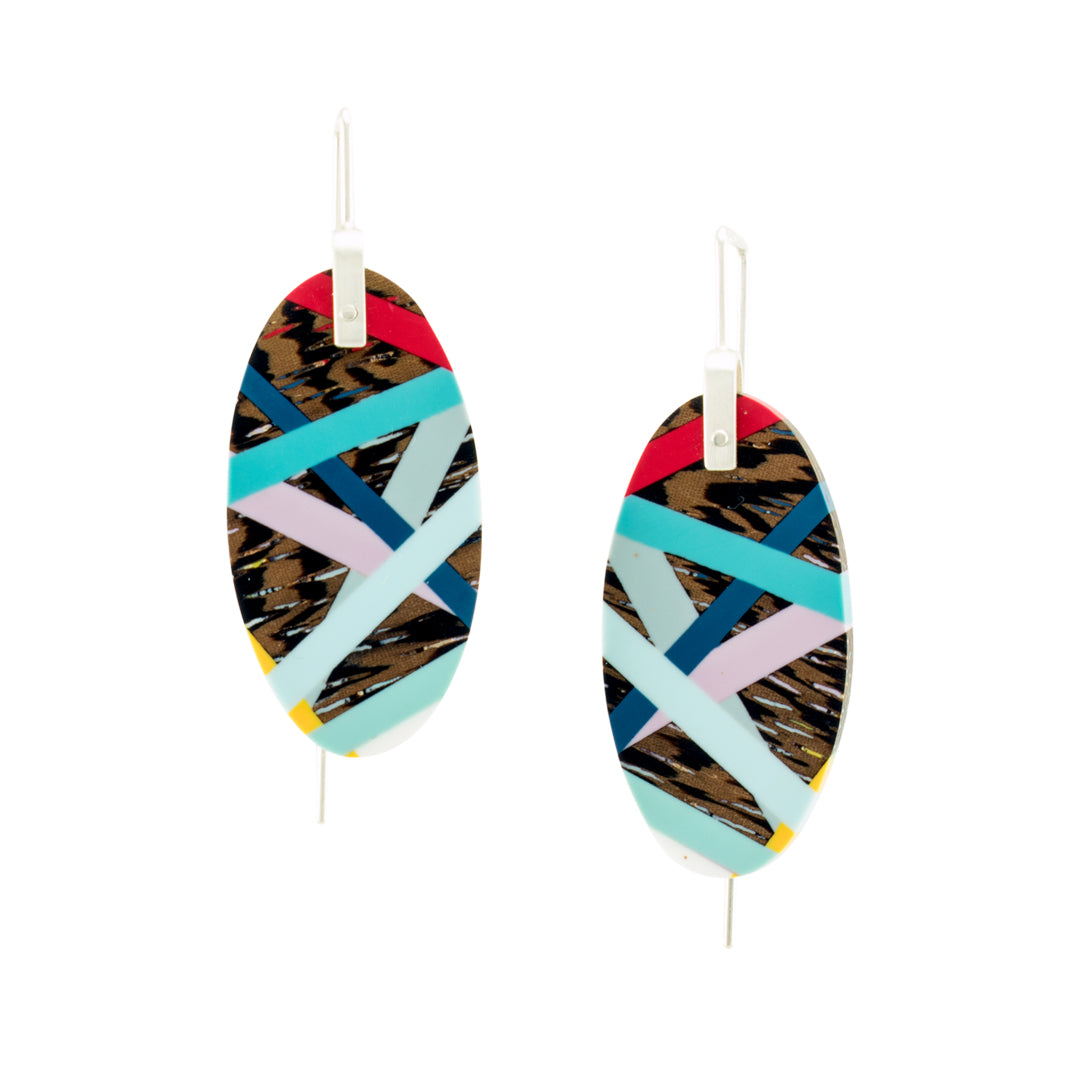 Jewelry Wood x Polyurethane Resin Resin Primary Colors Earrings