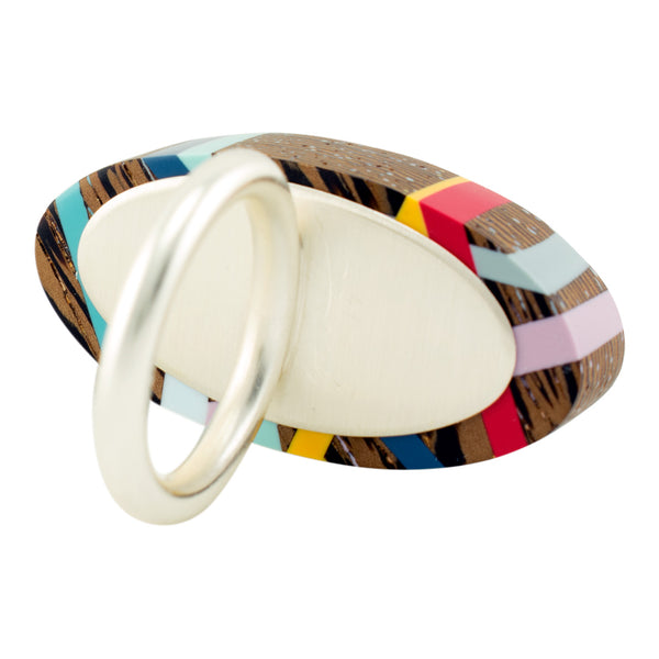 Wood and Polyurethane Primary Wenge Red Blue Yellow Mauve Aqua Grey One of a Kind Ring