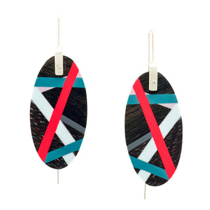 Laura Jaklitsch Jewelry Katalox Wood x Polyurethane Resin Inlay Coral Blue Grey Lilac Earrings