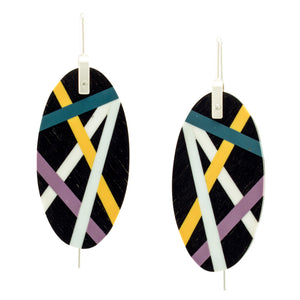 Laura Jaklitsch Jewelry Wood x Polyurethane Resin Ebony Earrings Purple Teal Yellow Burst