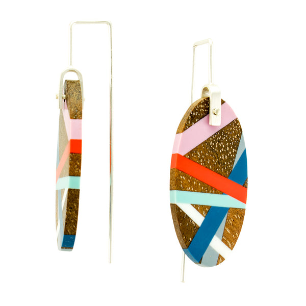 Blue Aqua Coral Red Lavender Laura Jaklitsch Jewelry Wood x Polyurethane Handmade One of a Kind Earrings Side View