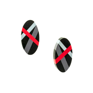 Ebony Post Earrings with Red and Grey Lines