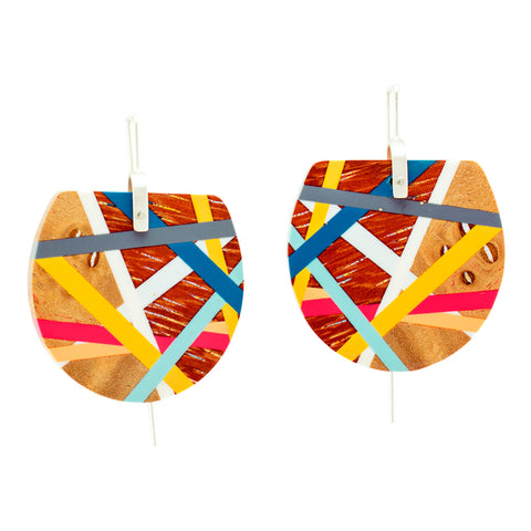 Red and Blue Wooden Fan Earrings