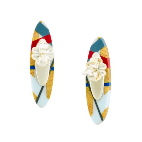 Laura Jaklitsch Jewelry Red Blue Grey Architect Earrings Wood and Polyurethane Resin