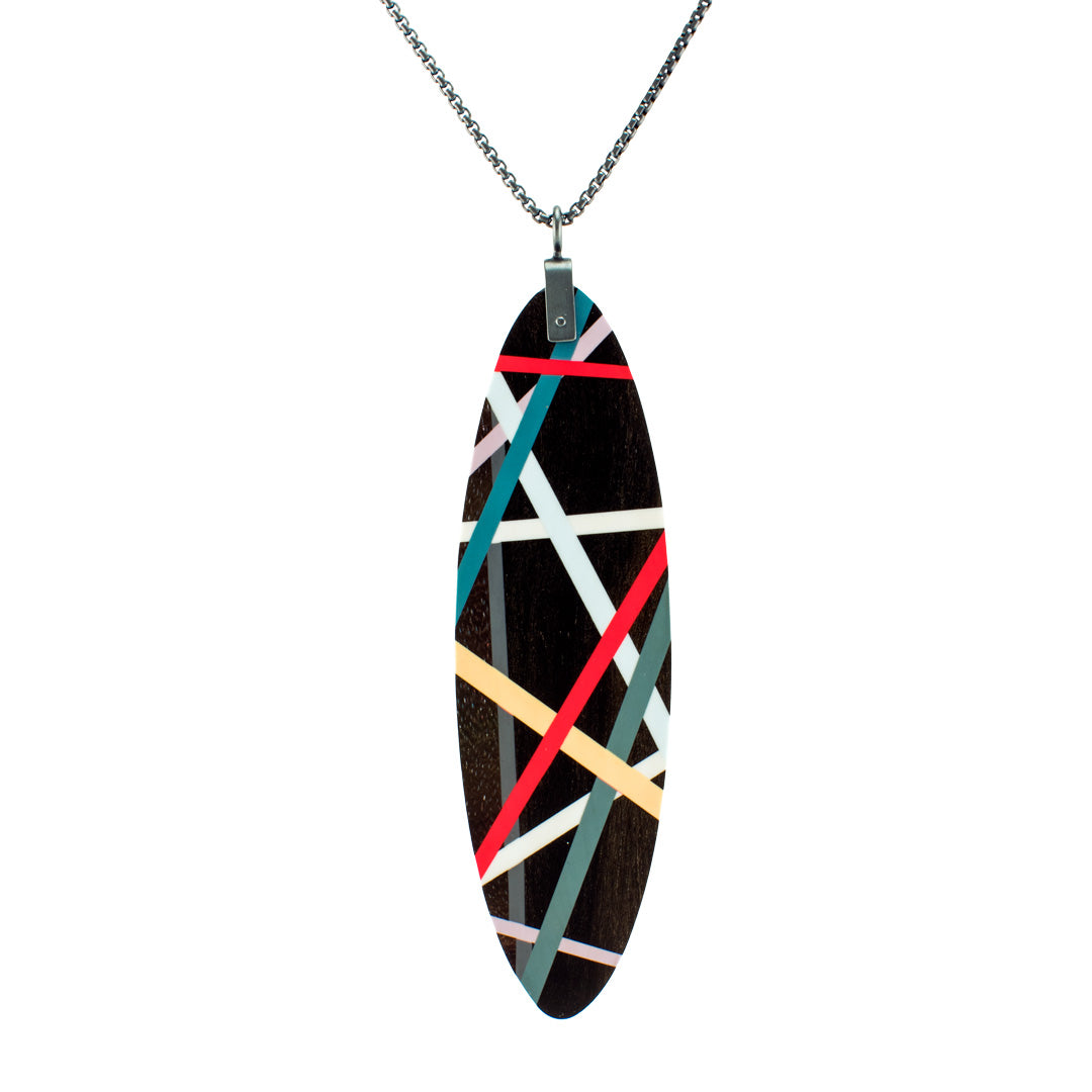 Long Statement Necklace Wood Jewelry with Resin Inlay