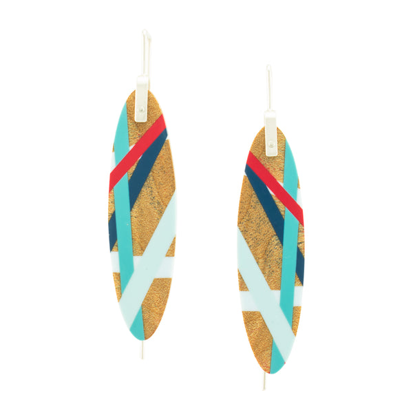 Laura Jaklitsch Jewelry Wood and Polyurethane Resin one of a kind red and blue maple earrings