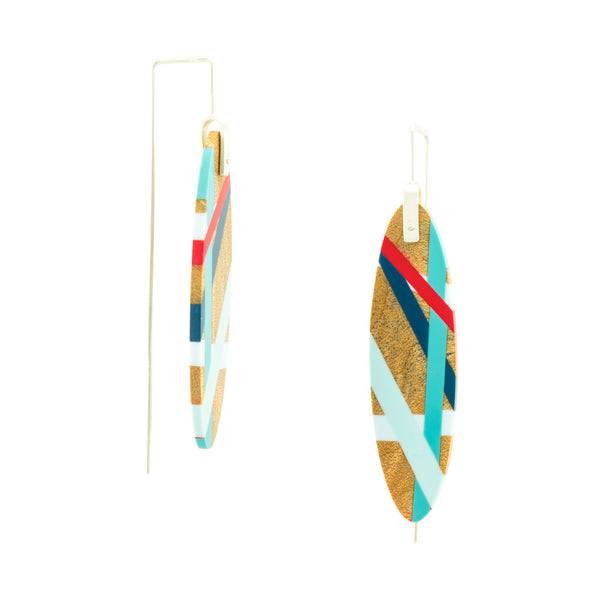Laura Jaklitsch Jewelry Wood x polyurethane red blue maple earrings side view
