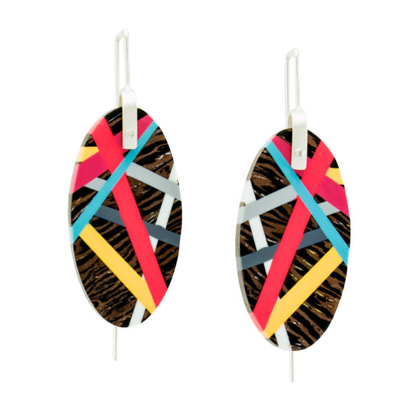 Red and Yellow Oval Wenge Wood Earrings with Sterling Silver Earwires