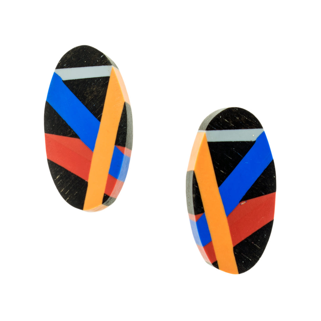 Red/Orange/Blue Ebony Studs