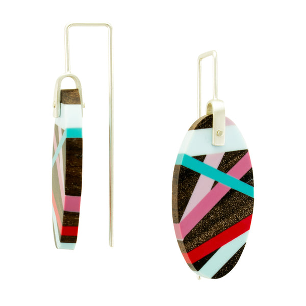 Red and Blue Inlay Earrings Side View