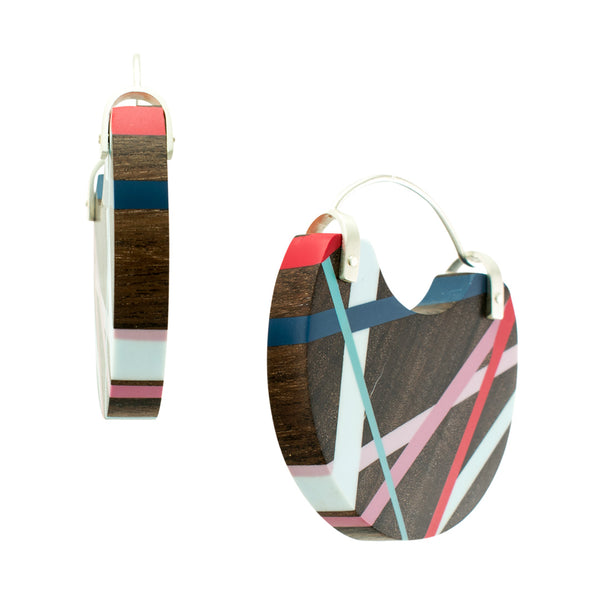 Wood Inlay Jewelry Hoop Earrings Side View