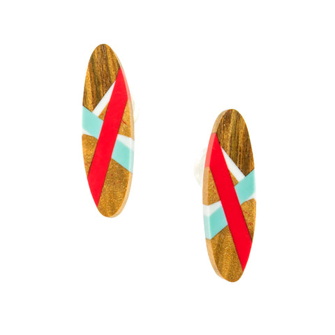 Oval Wood Stud Earrings with Resin Inlay in Red and Aqua