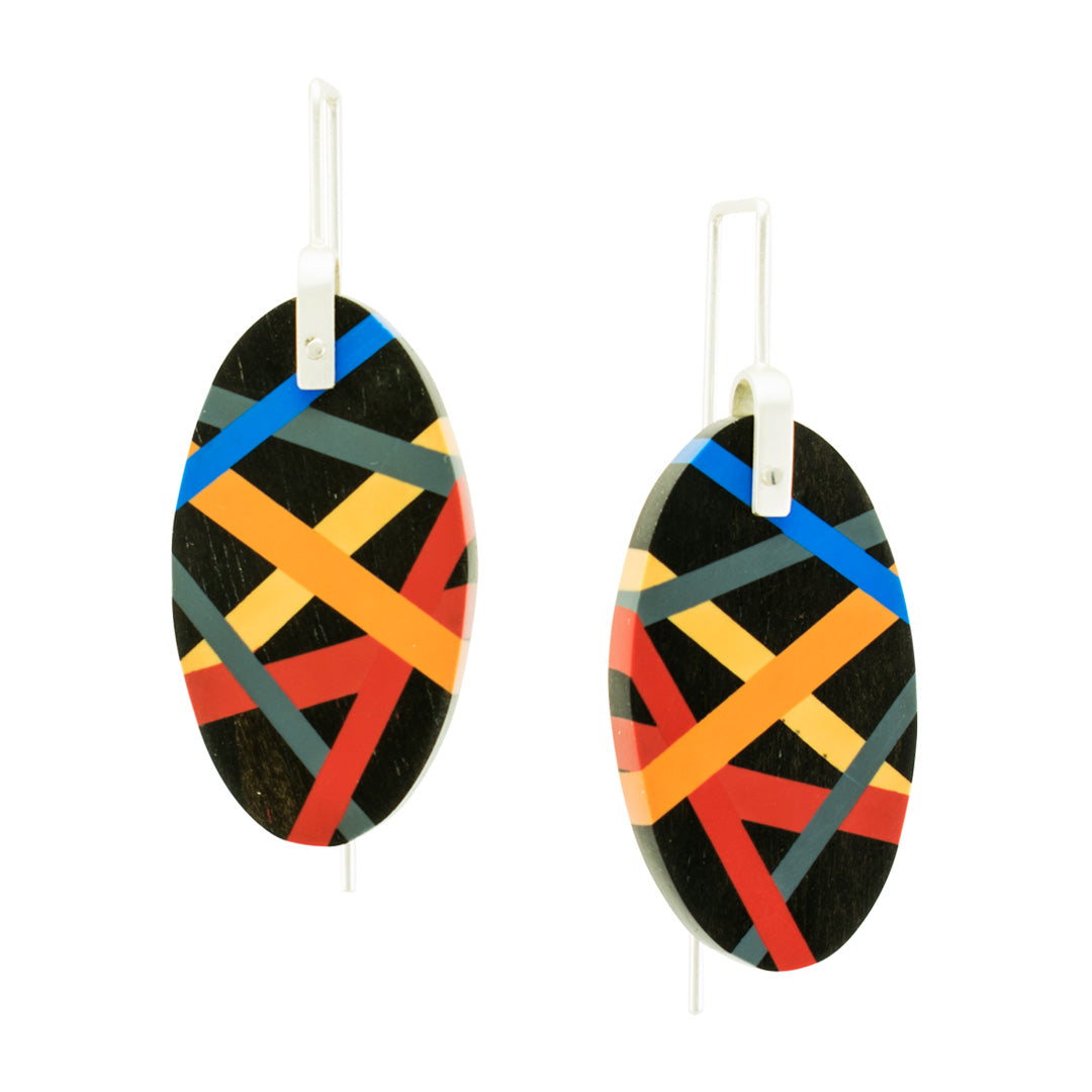 Black Ebony Wood and Resin Inlay Earrings