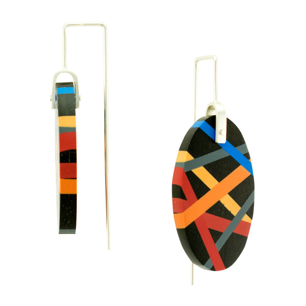 Ebony Wood Earrings Side View