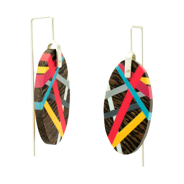 Side View of Red and Yellow Wenge Wood Earrings