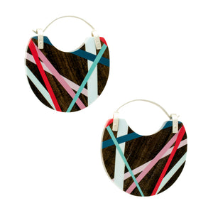Laura Jaklitsch Jewelry Wood x Polyurethane Blue, Red, Pink  Small Hoop Earrings  Handmade One of a Kind Lightweight Statement