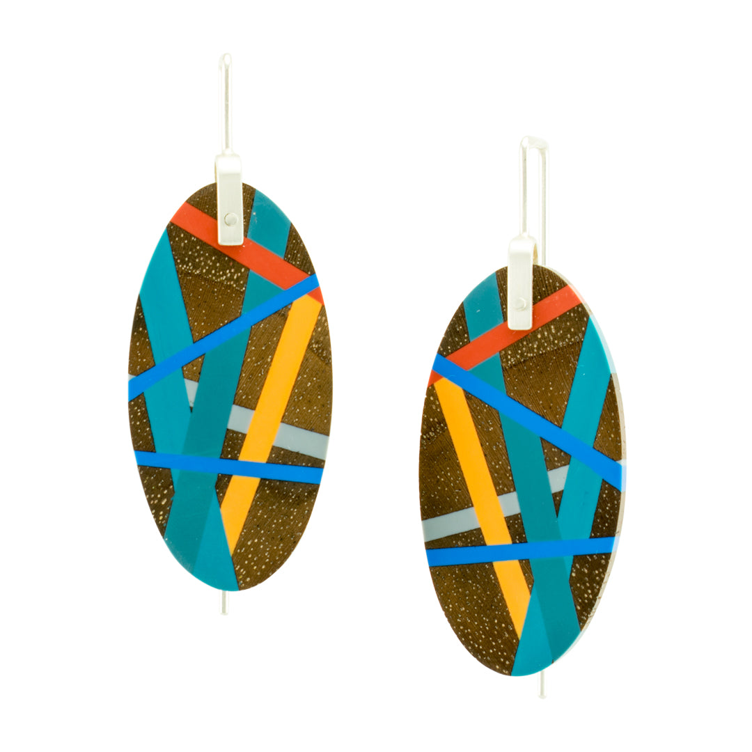Oval Wood Earrings with Resin Inlay in Red, Blue, and Yellow with Sterling Silver Earwires