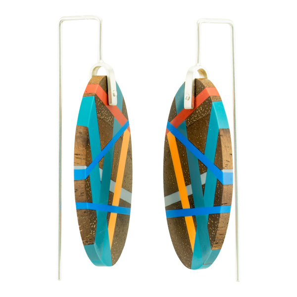 Laura Jaklitsch jewelry wood and polyurethane resin pacific coast earrings sterling silver one of a kind side view
