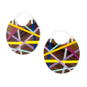Laura Jaklitsch Jewelry Wood x Polyurethane One of a Kind Rosewood Hoop Earrings, Statement Earrings, Beachy, Geometric