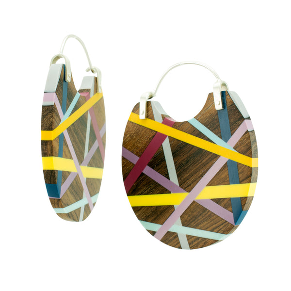 Laura Jaklitsch Jewelry Wood x Polyurethane One of a Kind Rosewood Hoop Earrings, Statement Earrings, Beachy, Geometric Side View