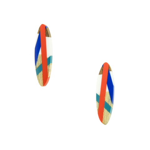 Laura Jaklitsch Jewelry Wood x Polyurethane Red Blue Teal Sailor Stud Earrings