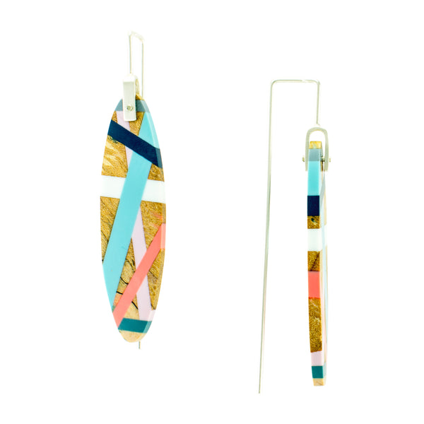 Laura Jaklitsch Jewelry Wood x Polyurethane Spalted Maple Earrings Side View