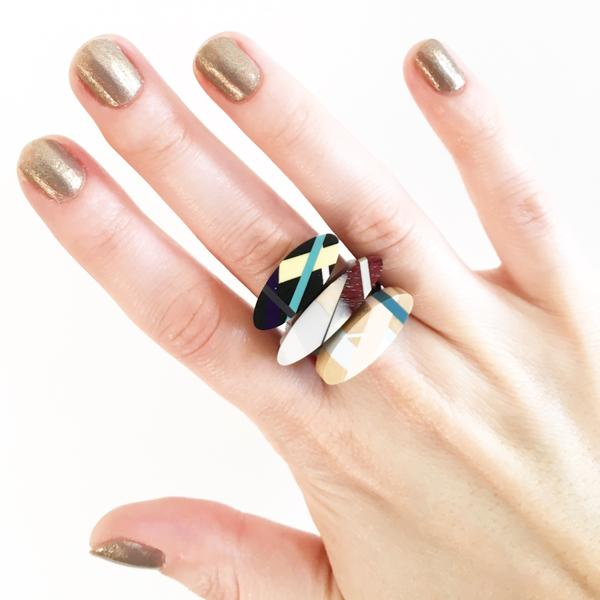 Oval Wood Stacking Rings by Laura Jaklitsch Jewelry