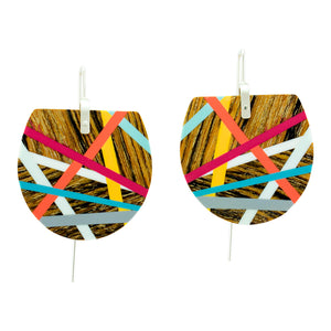 Bocote Fan Wooden Earrings
