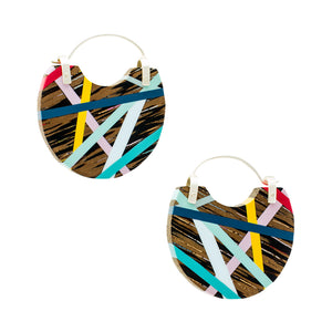 Classic Blue Lightweight Hoop Earrings Wood Inlay Jewelry