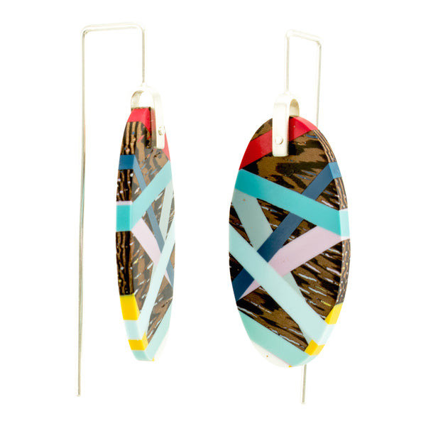 Jewelry Wood x Polyurethane Resin Resin Primary Colors Earrings Side View