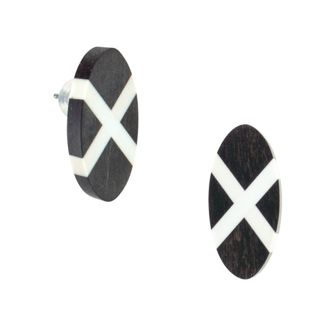 Laura Jaklitsch Jewelry Wood x Polyurethane Ebony Shield Post Earrings