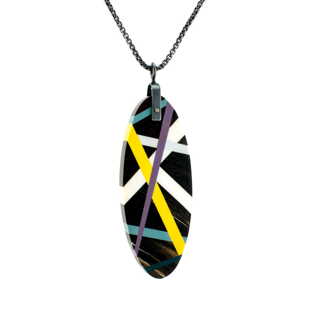 Black Wood Oval Pendant Necklace