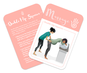 Flashcard for Labor, back of card has instructions, front of card has illustration of comfort technique:  Asian woman squeezing pregnant woman of color's hips with the heels of her hands which the pregnant woman is leaning forward onto a pillow on a counter.