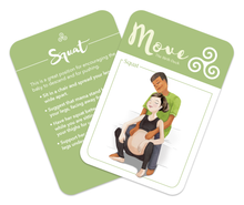 Flashcard for Labor, back of card has instructions, front of card has illustration of comfort technique:  Man of color sitting on a bed, supporting a white pregnant woman while she squats between his legs while in labor.