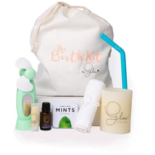 The Birth Kit by Glow including fan, washcloth, mints, candle, straw, lavender oil and lip balm.