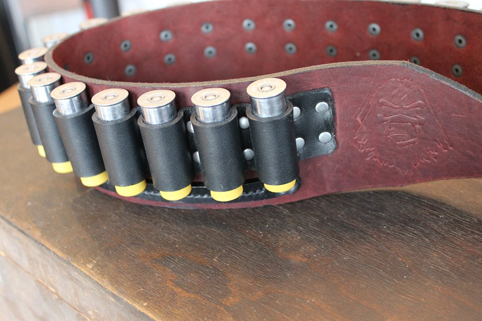 Shotgun Shell Leather Belt