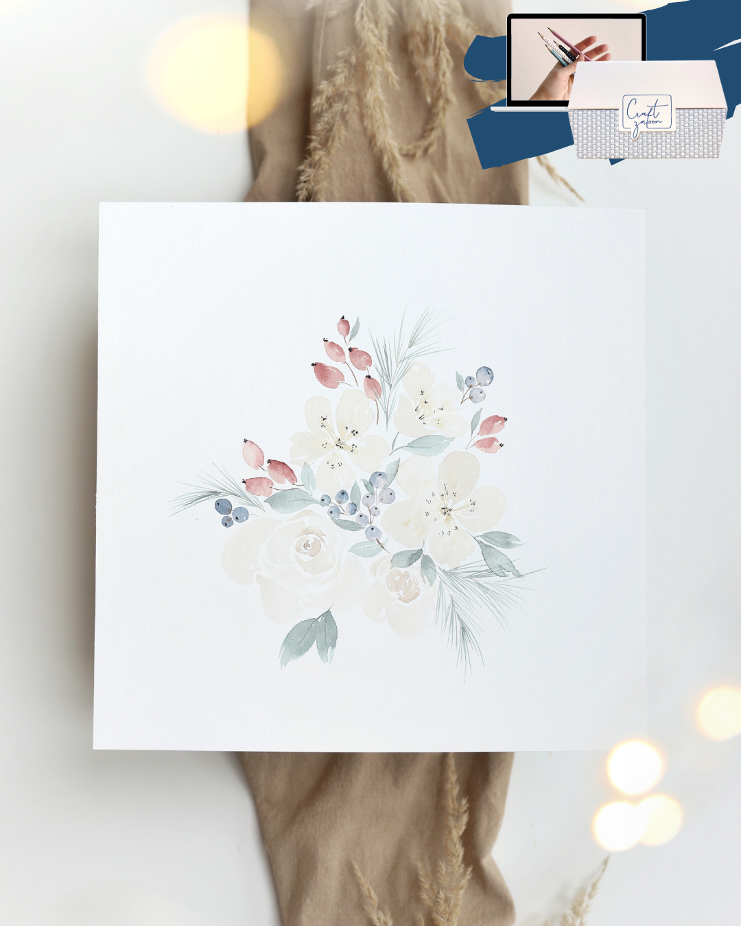 Watercolor Winter Flowers mit Online-Kurs