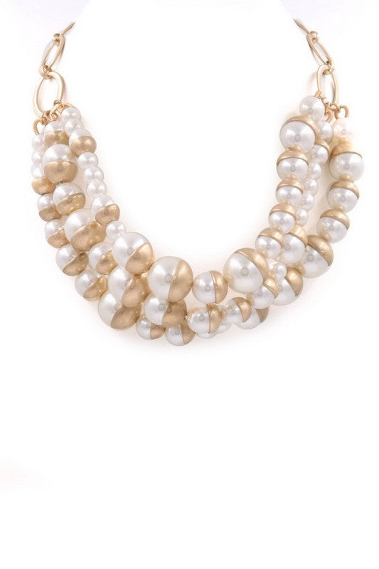 White Layered Acrylic Pearl Necklace
