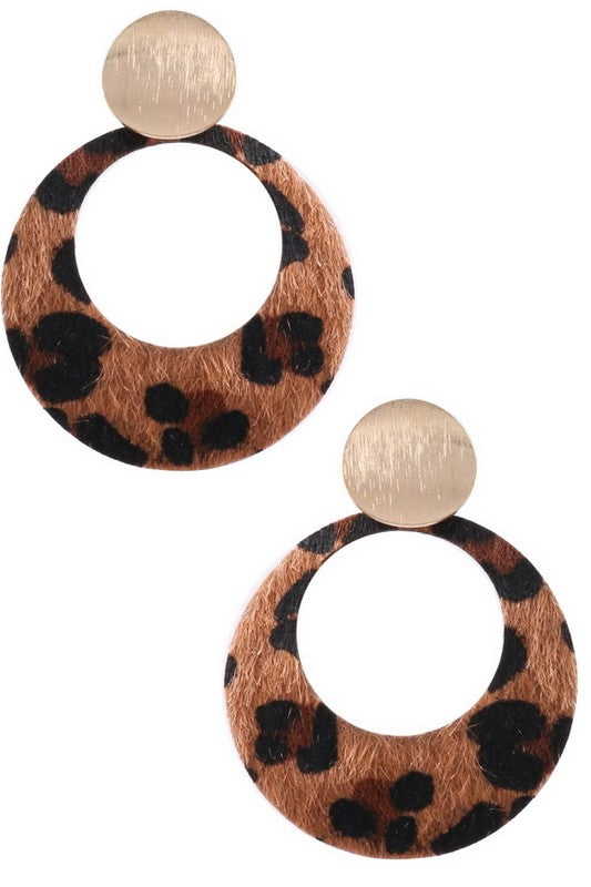 Brown Leopard Faux Fur Drop Earrings
