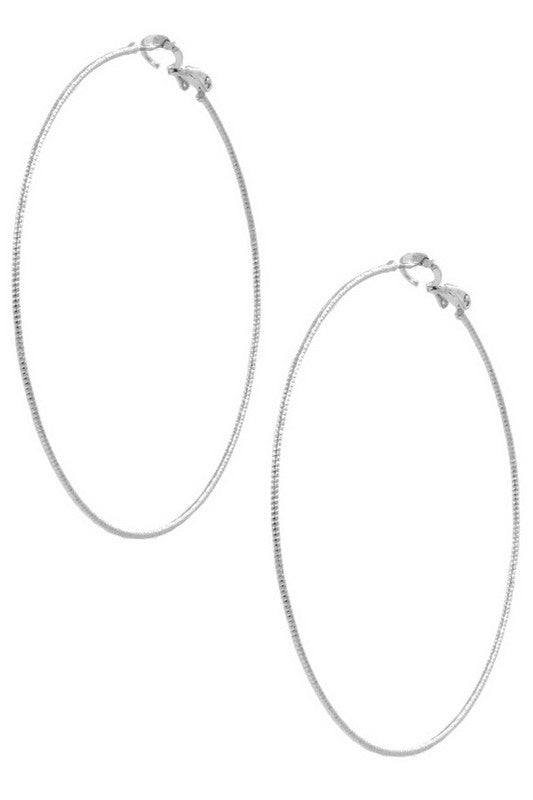 Rhodium Metal Hoop Earrings