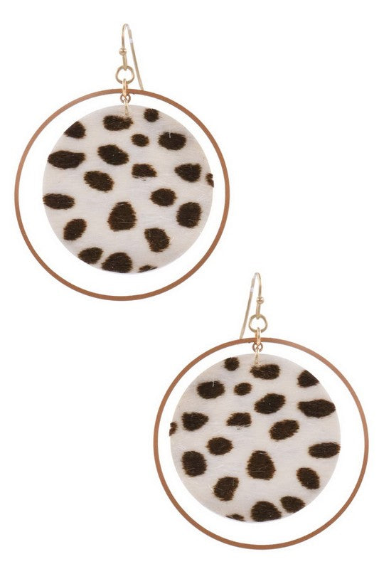 Ivory Faux Fur Leopard Earrings