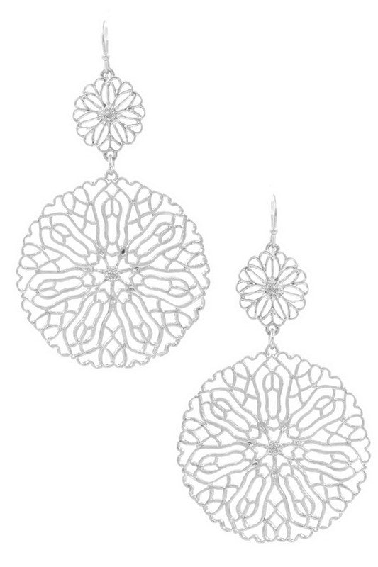 Worn Silver Metal Disc Drop Earrings