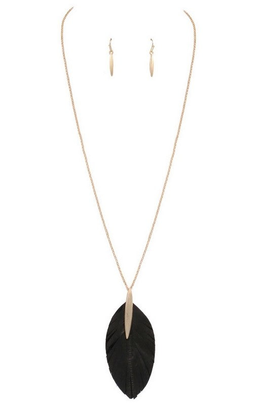 Worn Black Genuine Leather Pendant Necklace